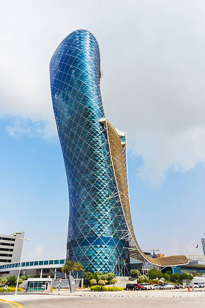 The large blue Capital gate tower stock photo