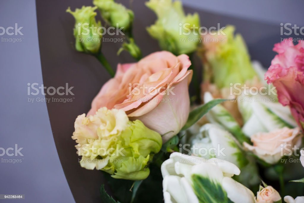 The Large Bouquet Of Ashen Roses Rustic Boho Chic Stock Photo Download Image Now Istock