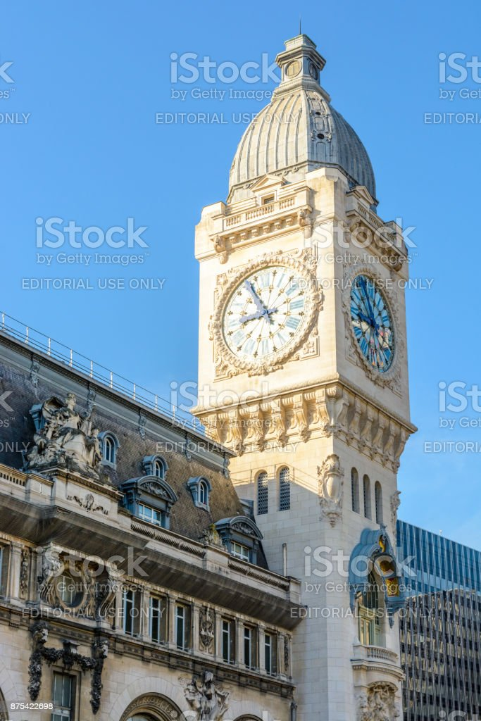 The large clock tower of the Paris 'Gare de Lyon' railway station stock photo