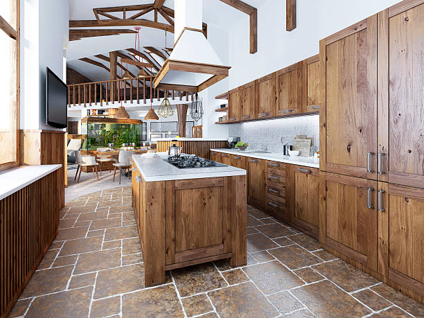The large kitchen in the loft style with an island