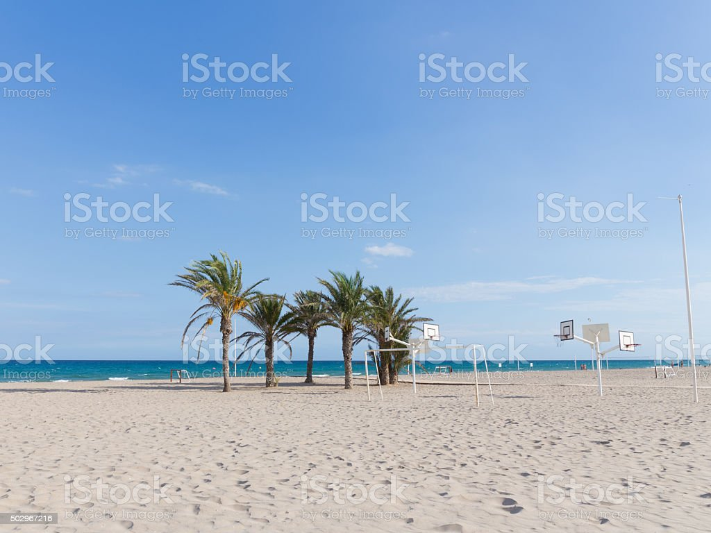 The large sandy beach of Alicante, Spain stock photo