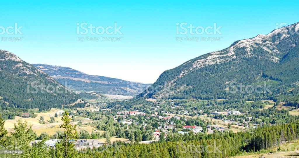 The largest town, Blairmore, Crowsnest, Alberta stock photo