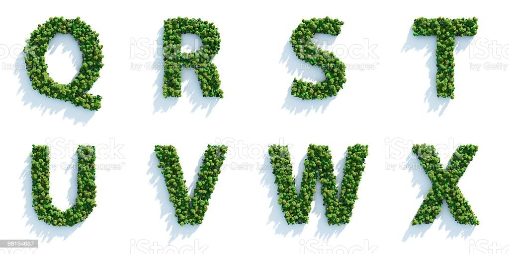 The last 8 letters of the alphabet made of trees royalty-free stock photo