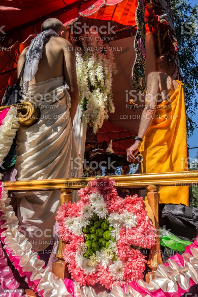 The last actions in the chariot of Krishna stock photo