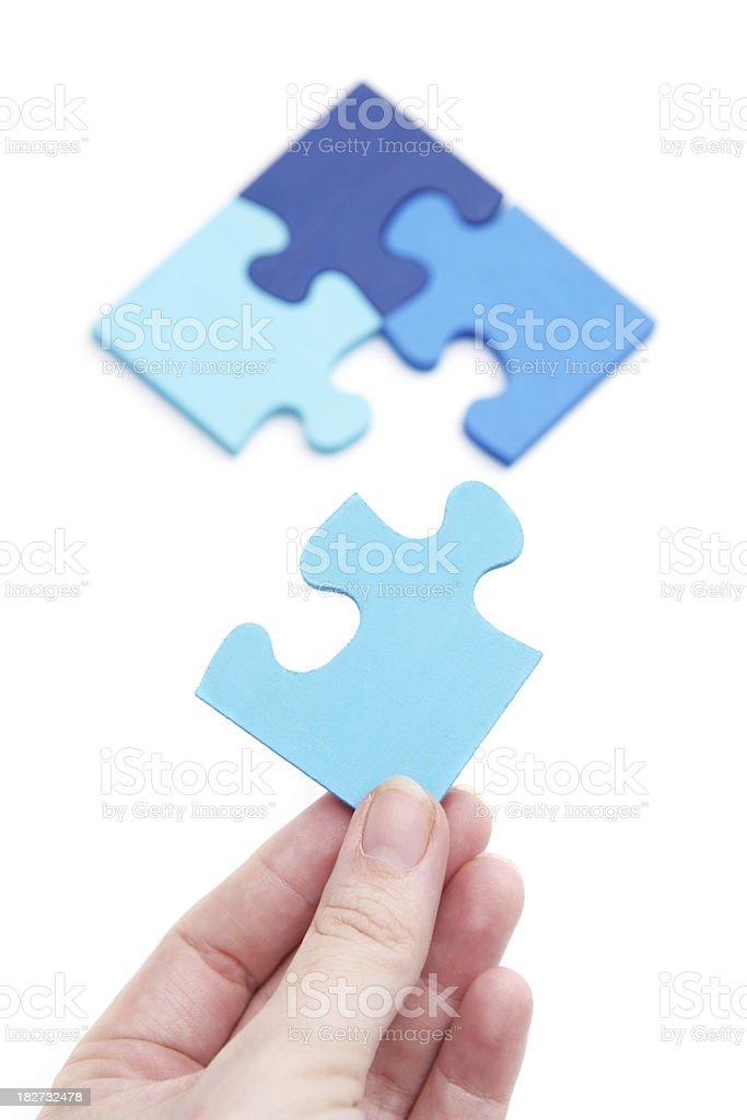 The Last Blue Puzzle Piece stock photo