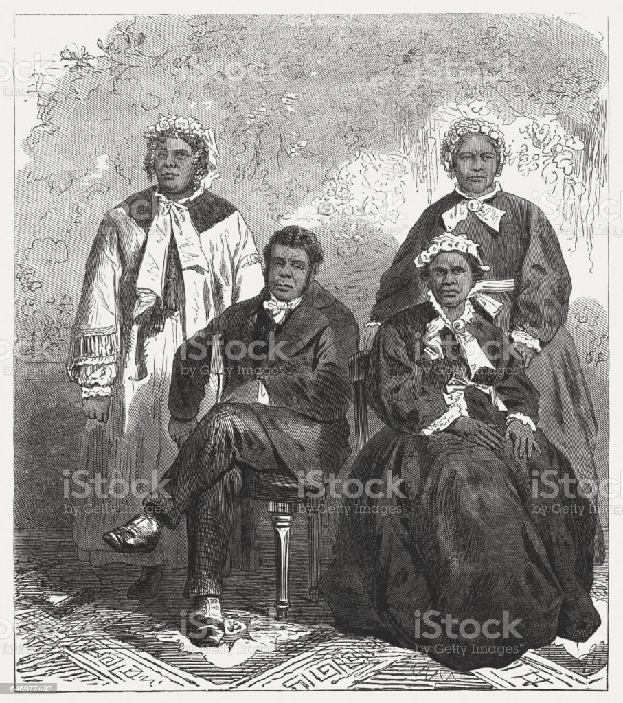 The last purebred aborigines of Tasmania, wood engraving, published 1865 stock photo