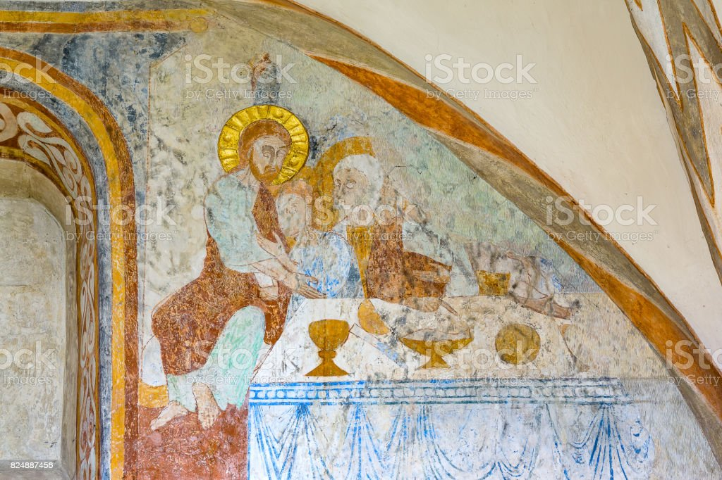 The last supper, a medieval fresco stock photo