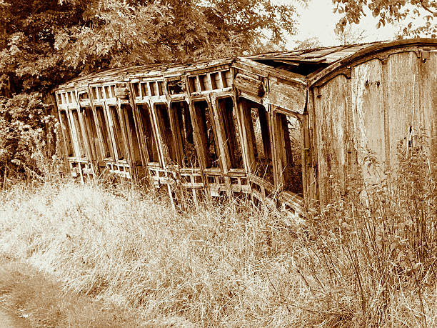 The last train will not depart A ruined wooden train carriage left to rot in a country laneway depart stock pictures, royalty-free photos & images