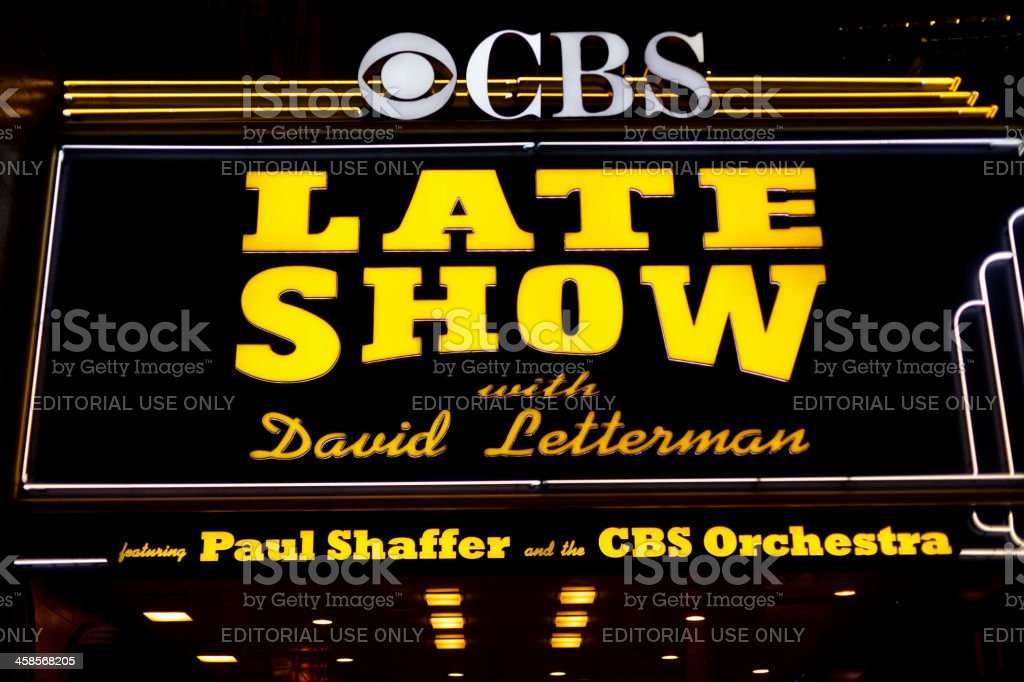 The Late Show with David Letterman Marquee Broadway Manhattan stock photo