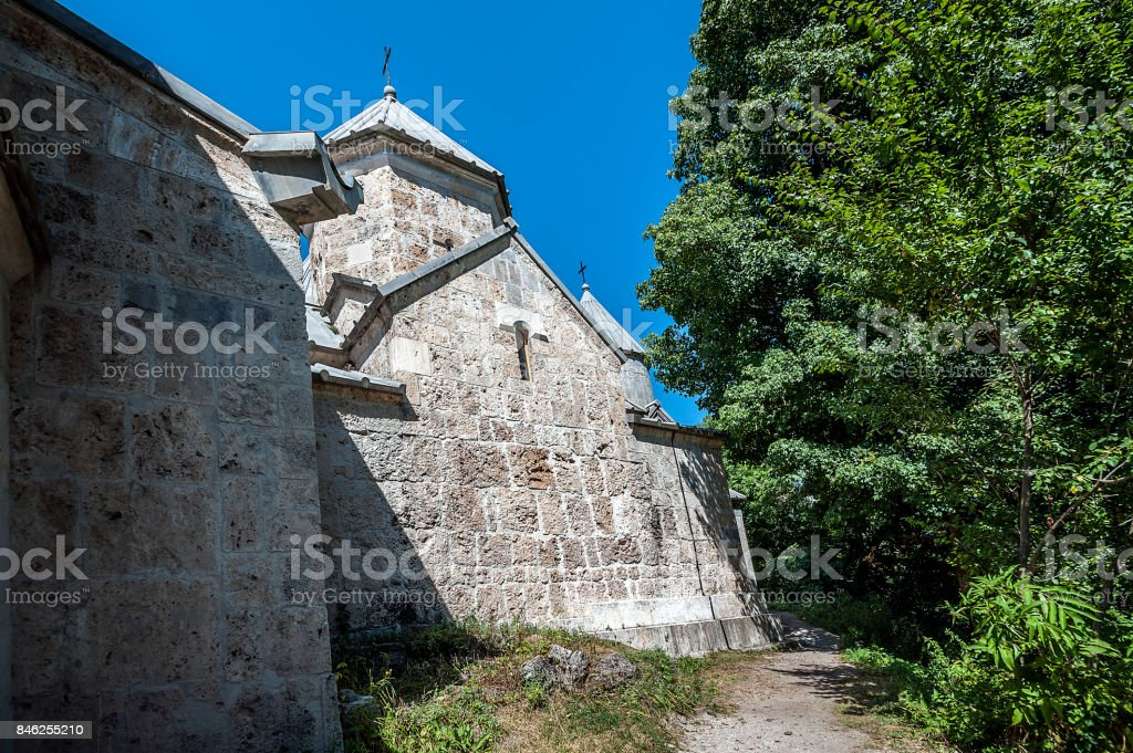 The lateral facade of St. Grigor Church  in the monastery of Haghartsin. stock photo