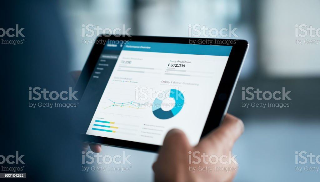 The latest business reports are in stock photo