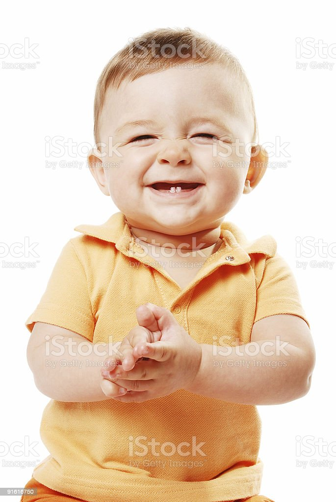 The laughing baby stock photo