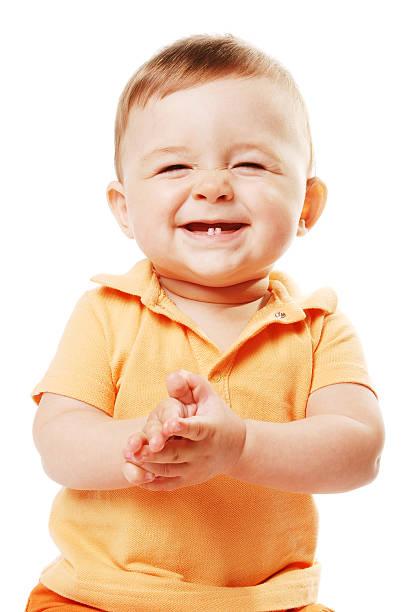 the laughing baby - baby teeth stok fotoğraflar ve resimler