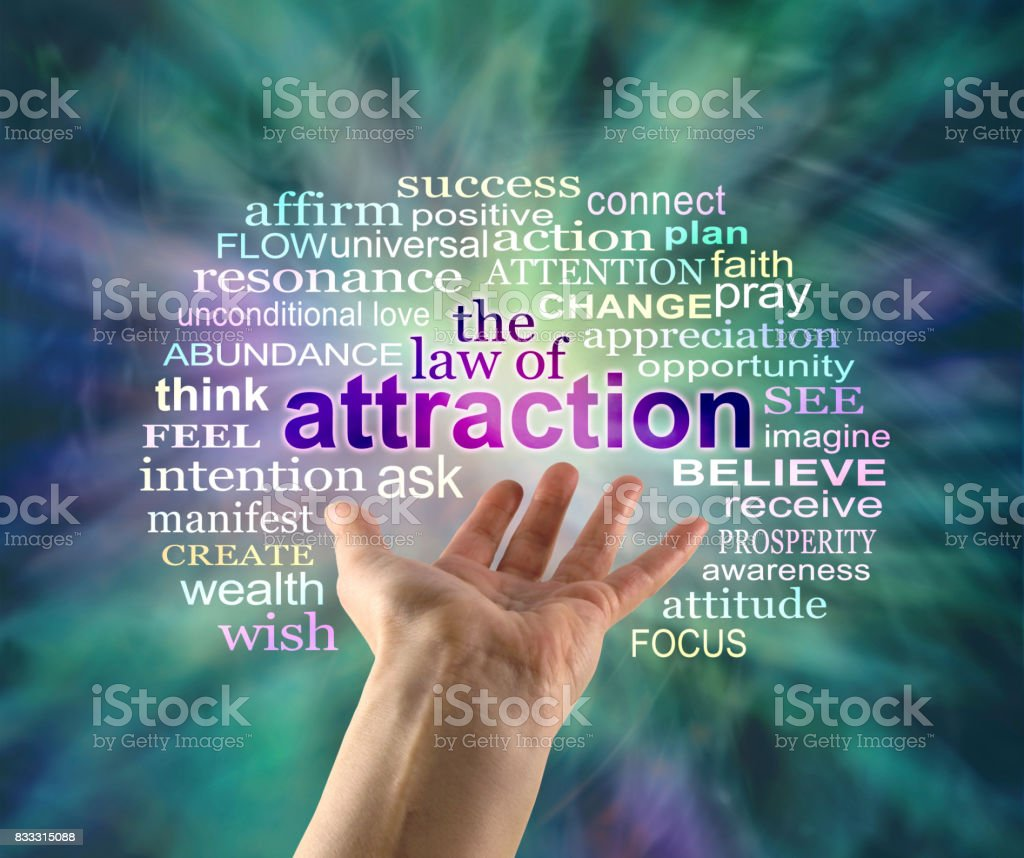 The Law of Attraction Word Cloud stock photo