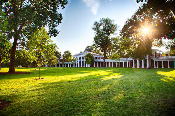 The Lawn The Afternoon sun on the Lawn at the University of Virginia campus an iconic and historic university. charlottesville stock pictures, royalty-free photos & images