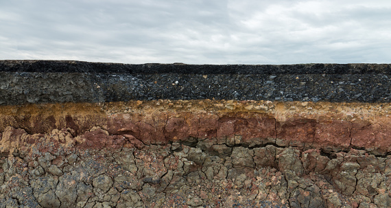 The Layer Of Asphalt Road With Soil And Rock Stock Photo - Download Image Now