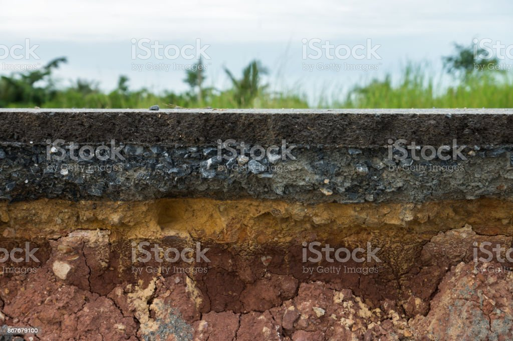 The layer of asphalt road with soil and rock. royalty-free stock photo
