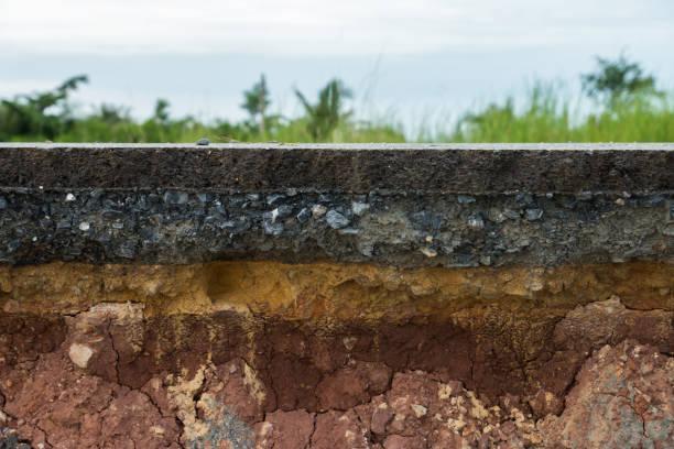 warstwa drogi asfaltowej z glebą i skałą. - geologia zdjęcia i obrazy z banku zdjęć