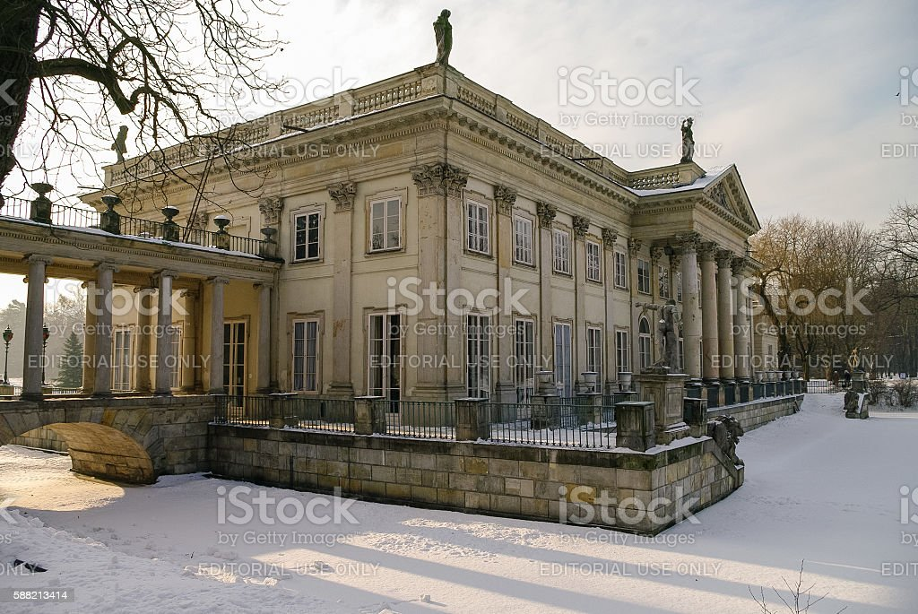The Lazienki palace in Lazienki Park. Winter landscape with snow stock photo