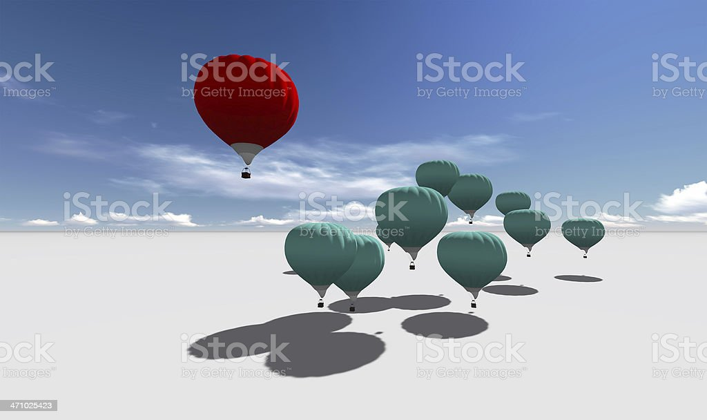 The Leader red hot air balloons stock photo