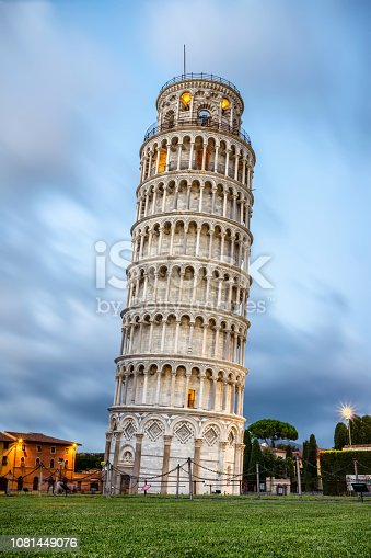 The leaning tower of Pisa at sunset. Tuscany, Italy