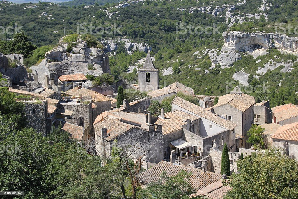 Les baux de provence village, France. stock photo