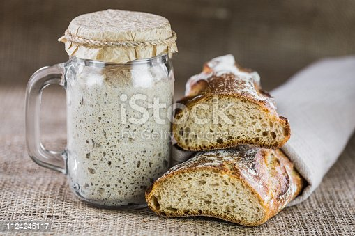 The leaven for bread is active. Starter sourdough. The concept of a healthy diet
