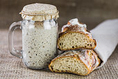 The leaven for bread is active. Starter\nsourdough. The concept of a healthy diet