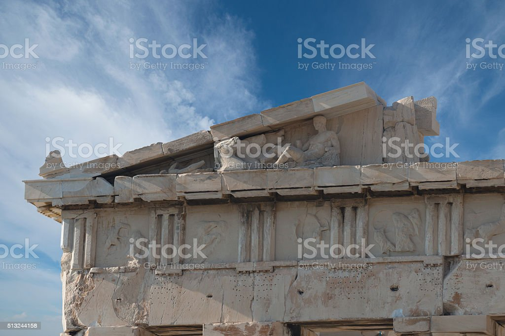 The left Pediment of Acropolis , Greece stock photo