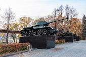 Moscow, Russia - October 19, 2018. The legendary Soviet T-34 tank of world war II on a pedestal In the Glory Alley in a Public Park