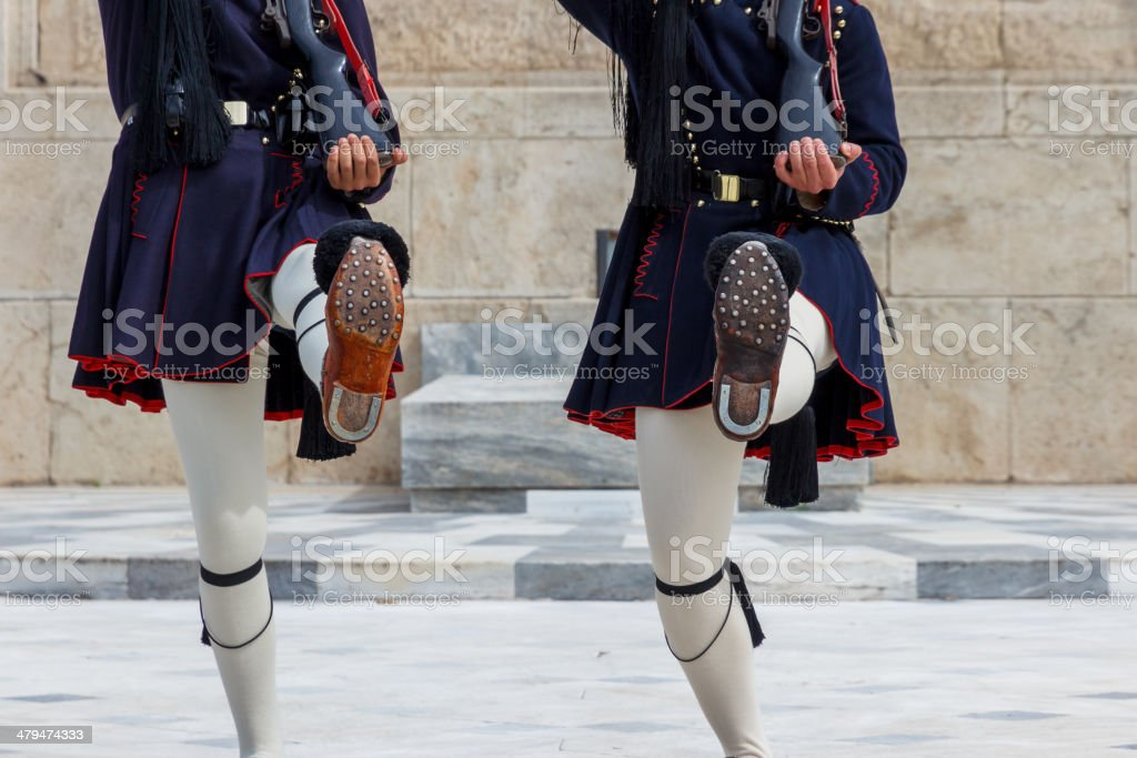 The legs of Evzones in Athens, Greece stock photo