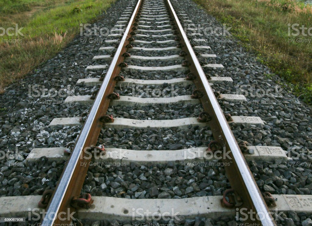 The length of the railway track. Thailand. stock photo