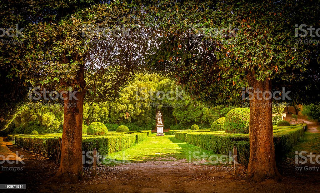 The Leonini Gardens, Tuscany stock photo