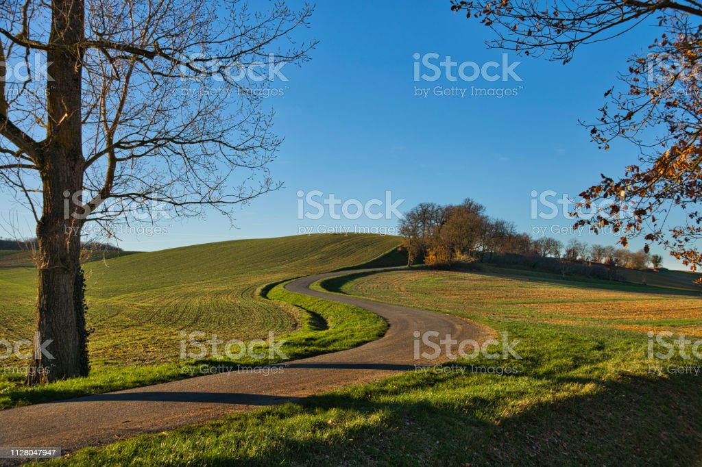 The lesser travelled road stock photo