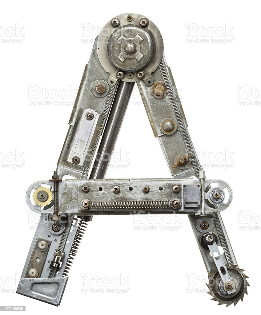 The letter A formed by pieces of metal parts and scraps stok fotoğrafı