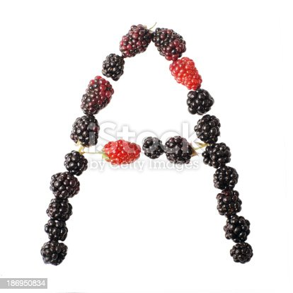 683035640 istock photo The letter A made up of blackberries 186950834