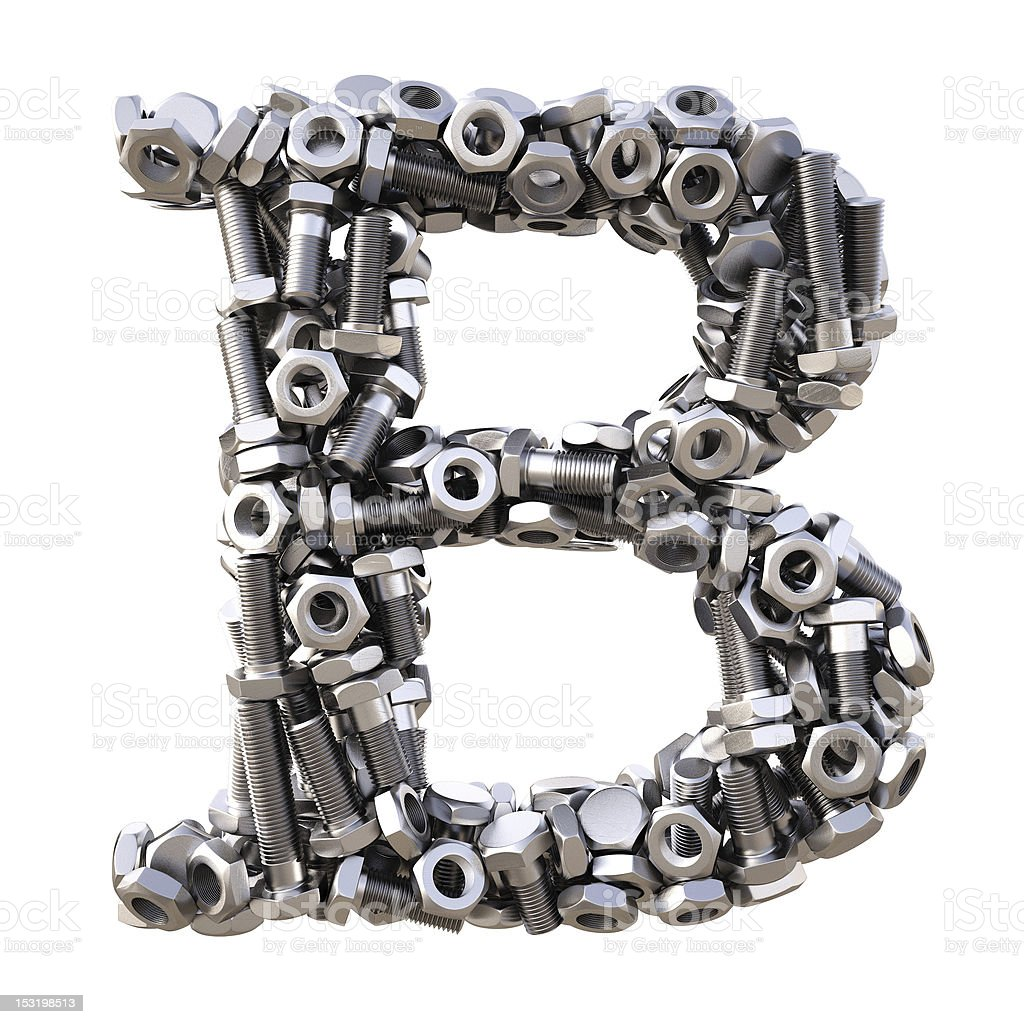 The letter B made up of metal bolts stock photo