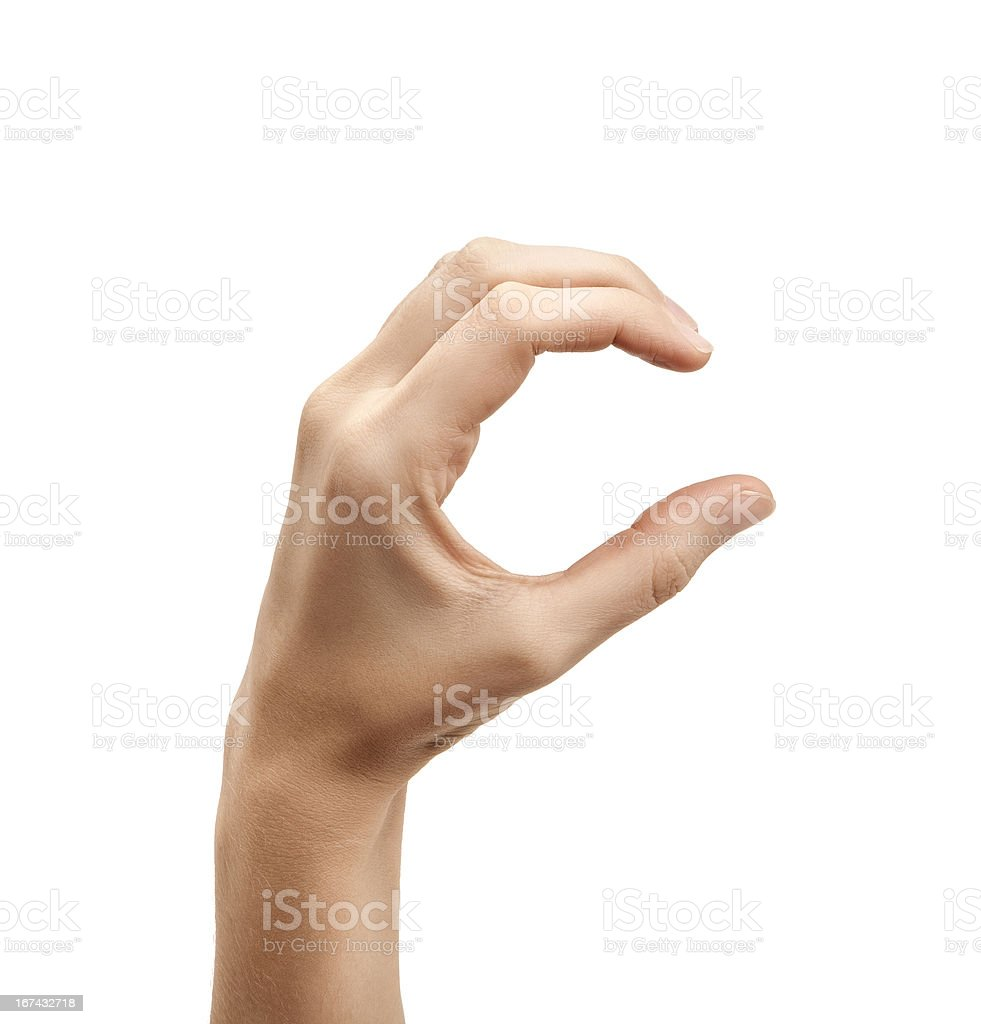 The letter C using American Sign Language stock photo