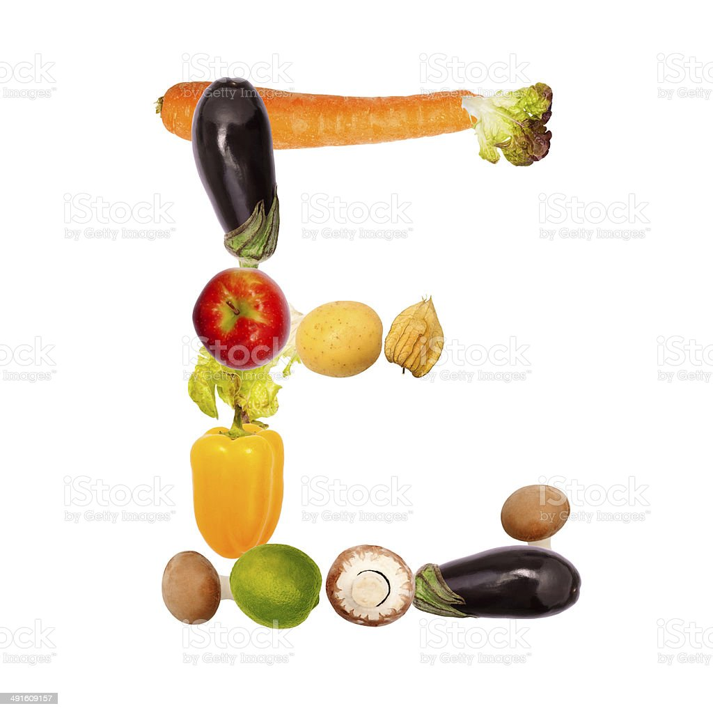 the letter e in various fruits and vegetables stock photo