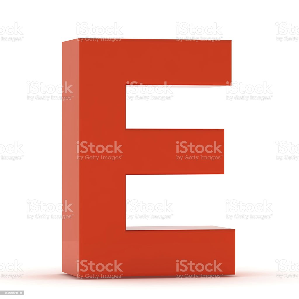 The Letter E - Red Plastic stock photo