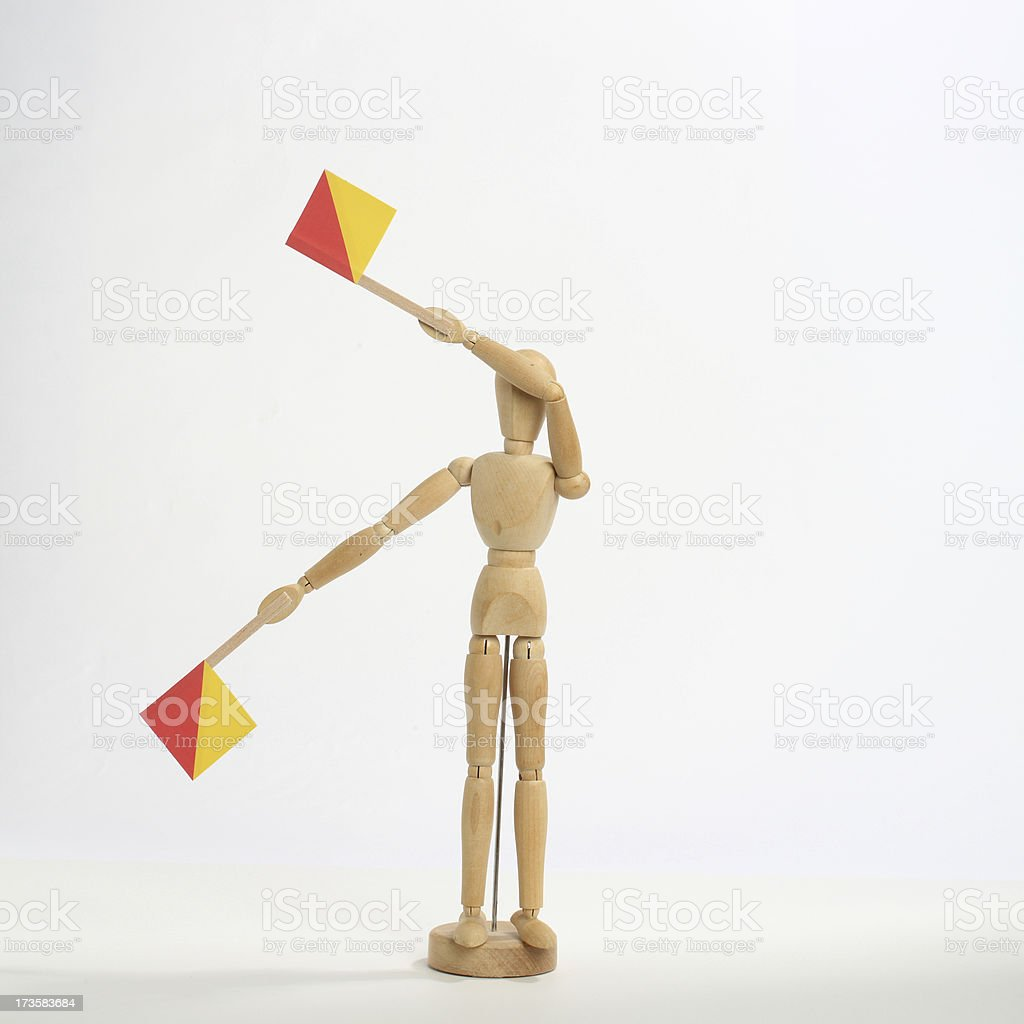 The letter 'I' or number '9' in semaphore stock photo
