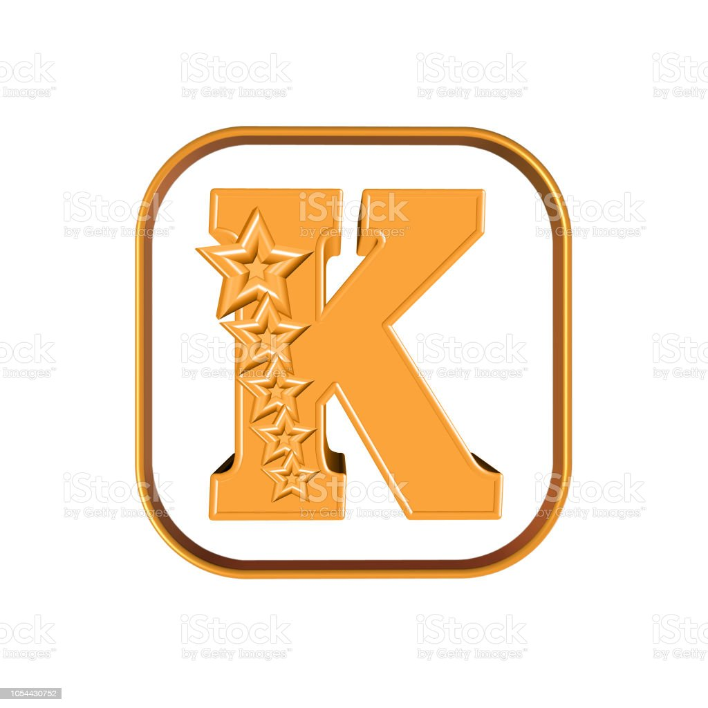 The Letter K and five stars 3D illustration letter K and five stars on white background Alphabet Stock Photo