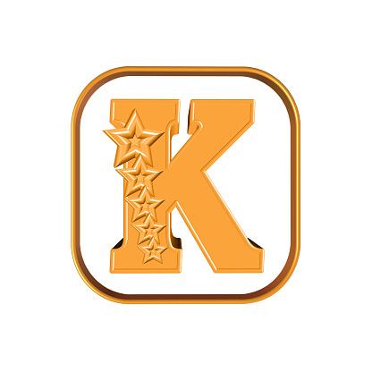The Letter K And Five Stars — стоковые фотографии и другие картинки Алфавит