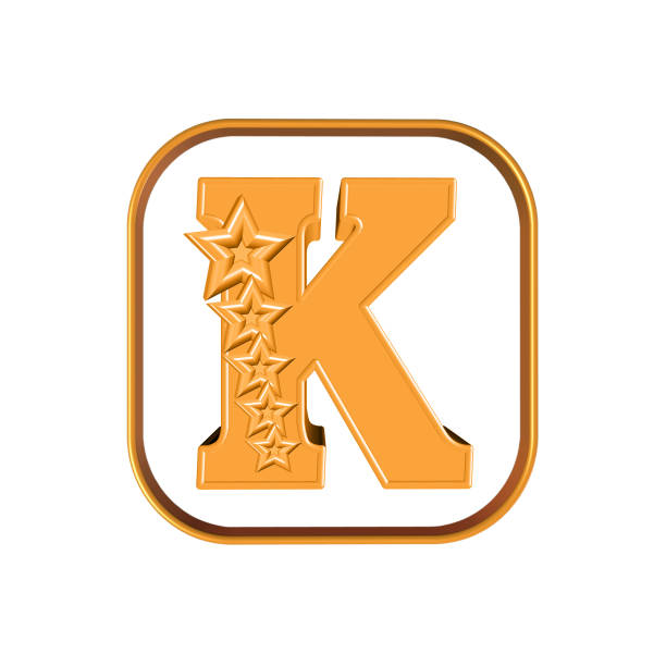 The Letter K and five stars 3D illustration letter K and five stars on white background k logo stock pictures, royalty-free photos & images