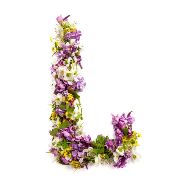 """der buchstabe """"l"""" hergestellt aus verschiedenen natürlichen kleinen blüten. - schöne englische wörter stock-fotos und bilder"""