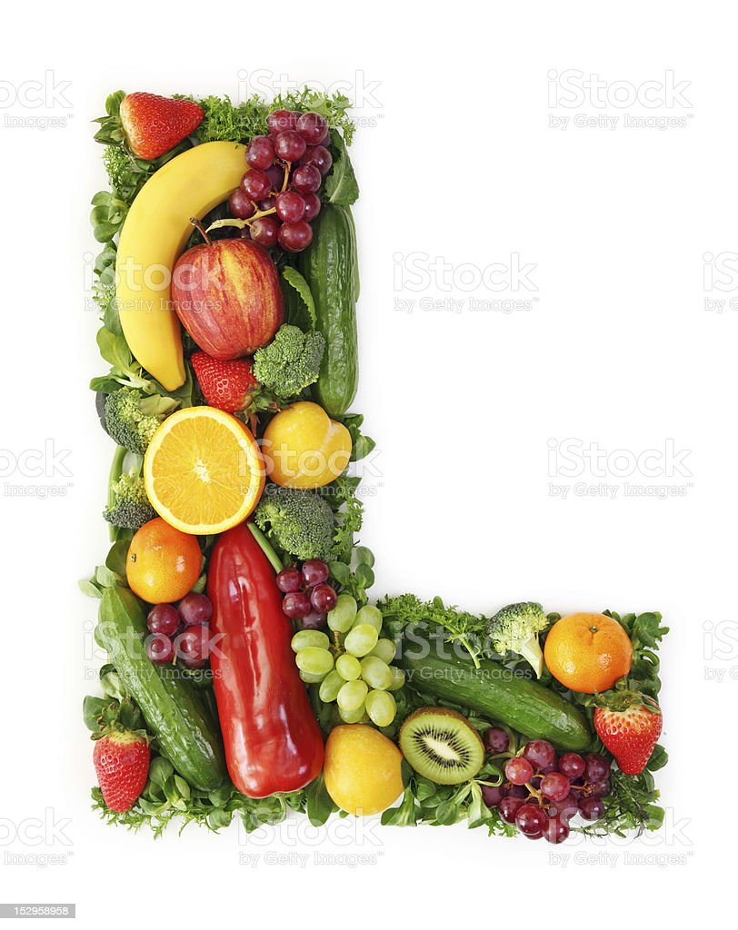 The letter 'L' made up of colorful fruit and vegetables royalty-free stock photo
