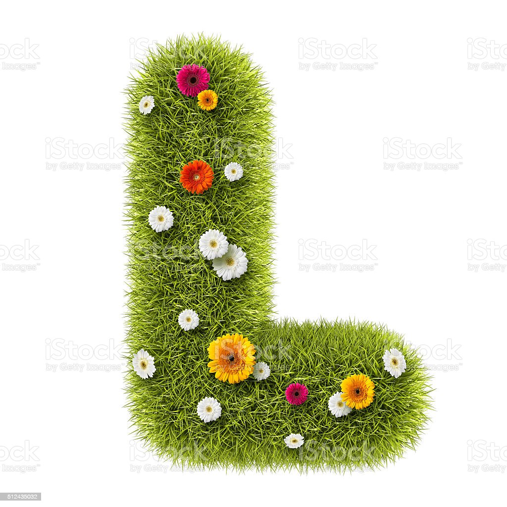 The Letter L Of Grass And Flowers Royalty Free Stock Photo