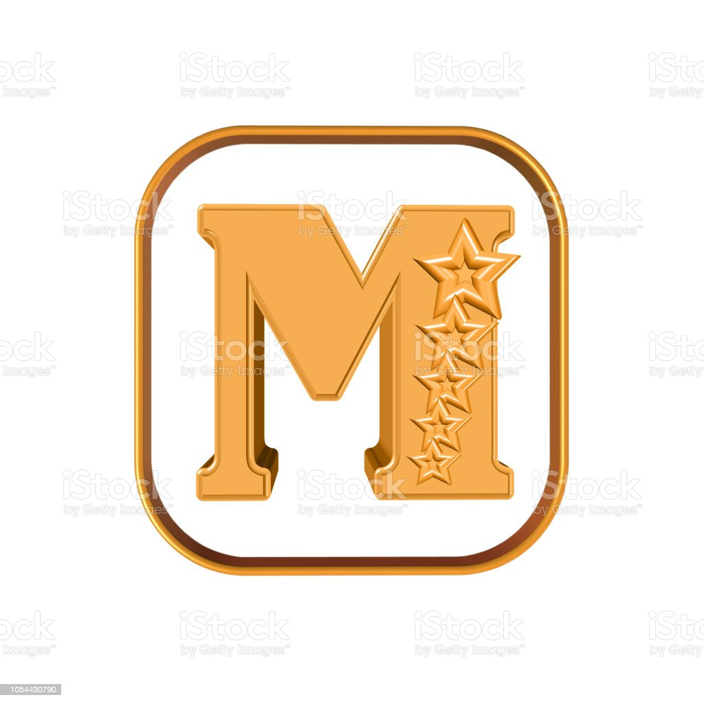 The Letter M and five stars stock photo