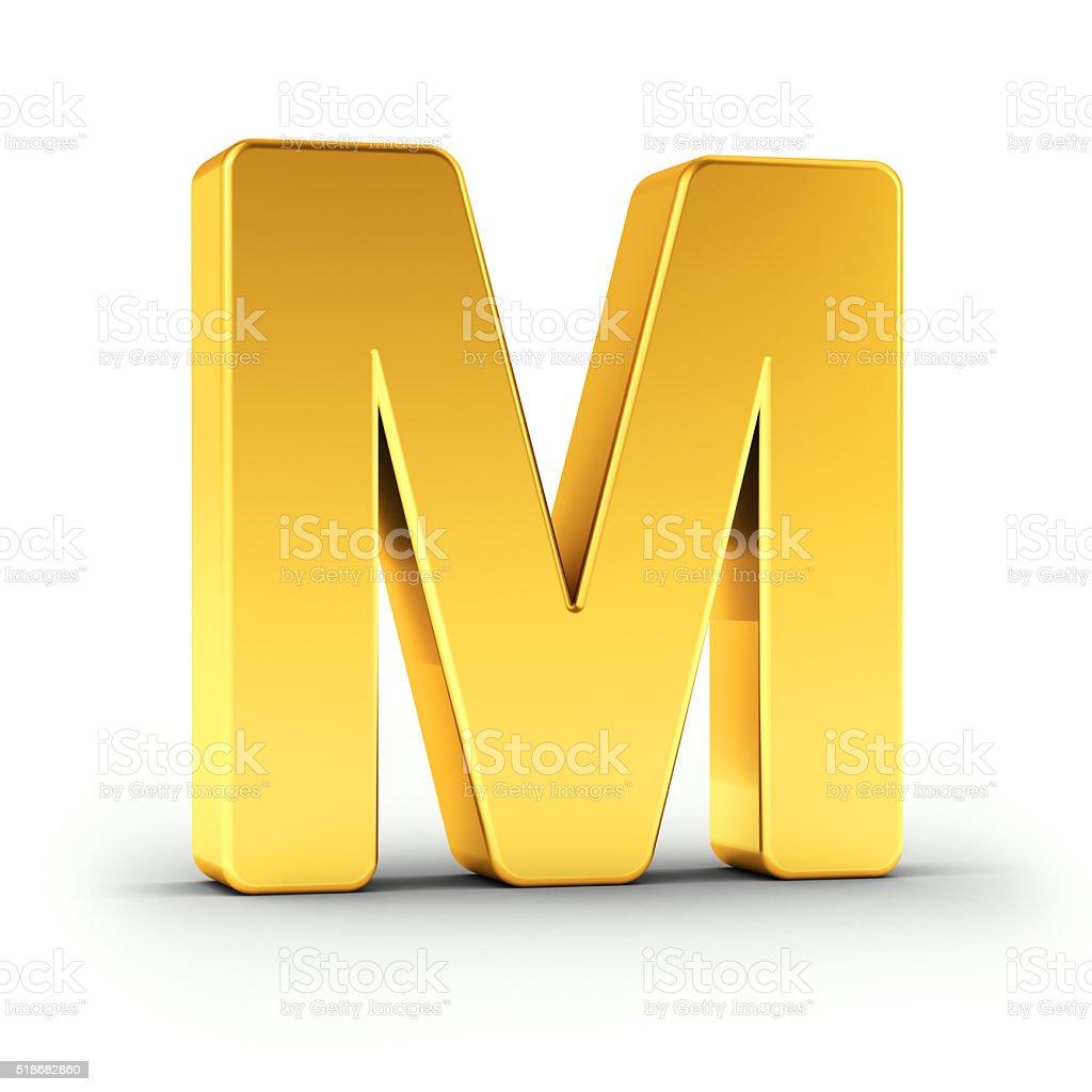 Der Buchstabe M in einer polierten goldfarbenen Objekt – Foto