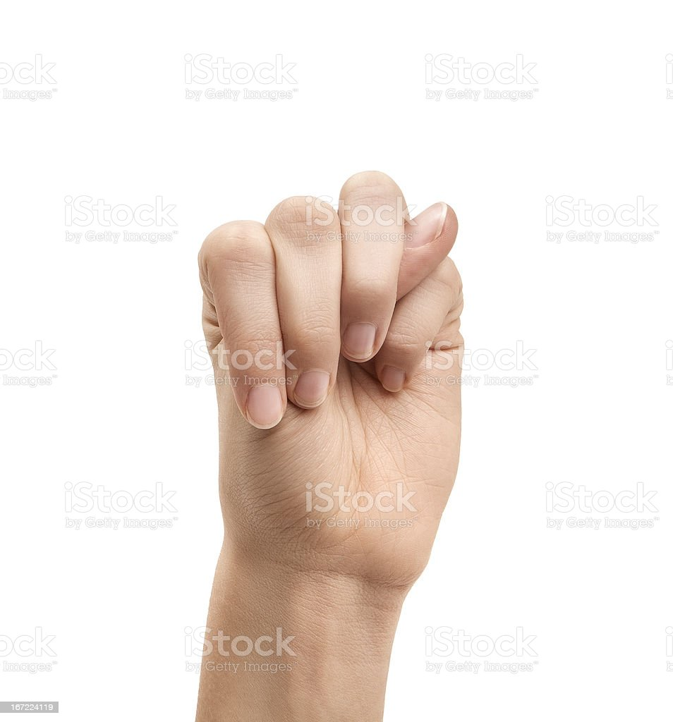 The letter M using American Sign Language royalty-free stock photo